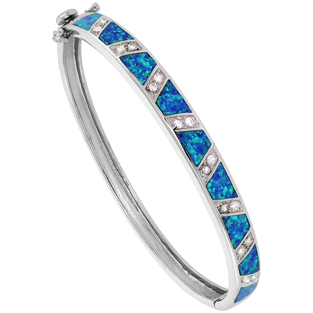 Sterling Silver Bangle Bracelet Synthetic Opal Inlay w/ CZ stones 1/4 inch (7 mm) wide