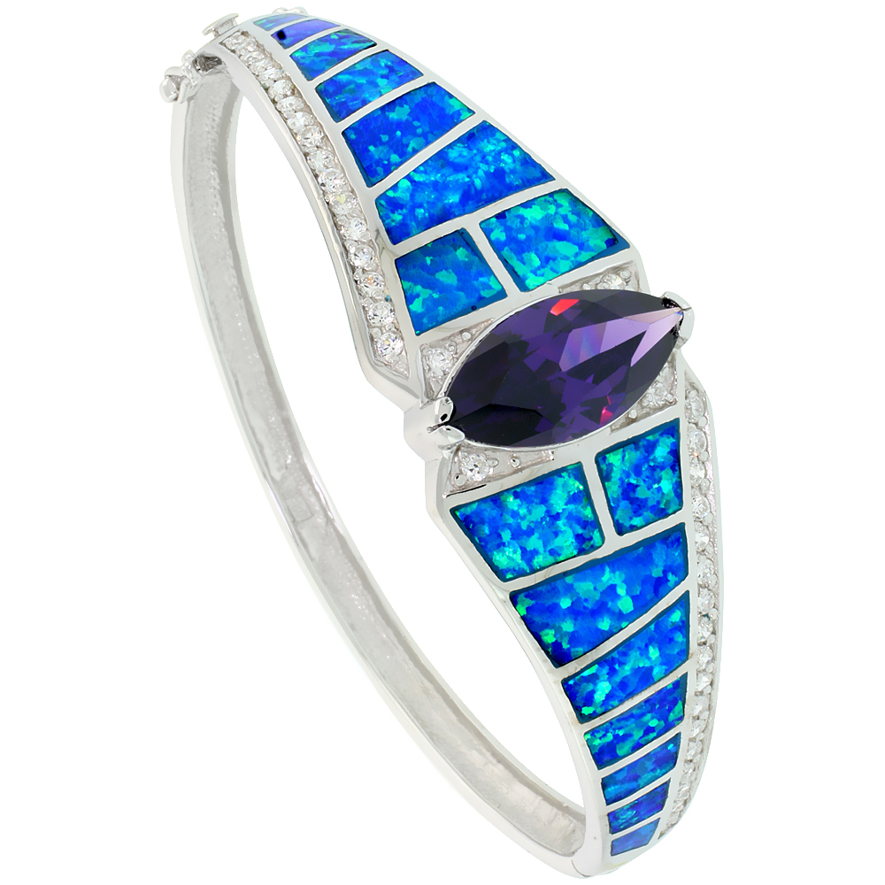 Sterling Silver Bangle Bracelet Synthetic Opal Inlay Marquise Cut Amethyst CZ Stone 3/4 inch wide