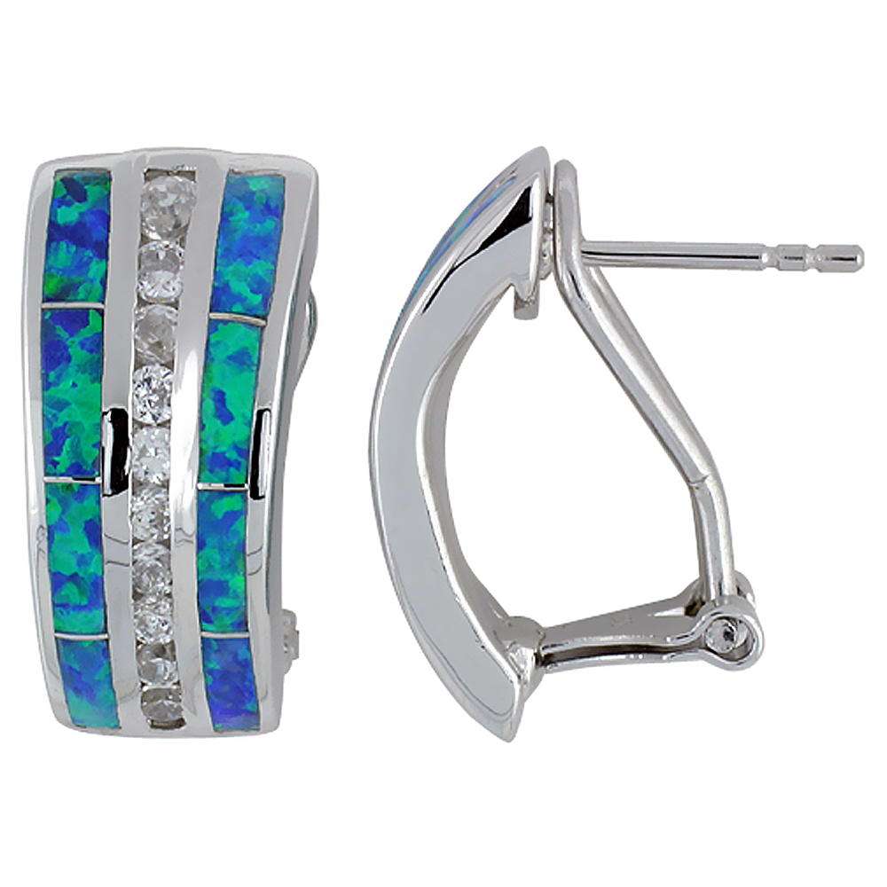 Sterling Silver Synthetic Opal Trapezoid Earrings Channel Set CZ Omega back, 7/8 inch long