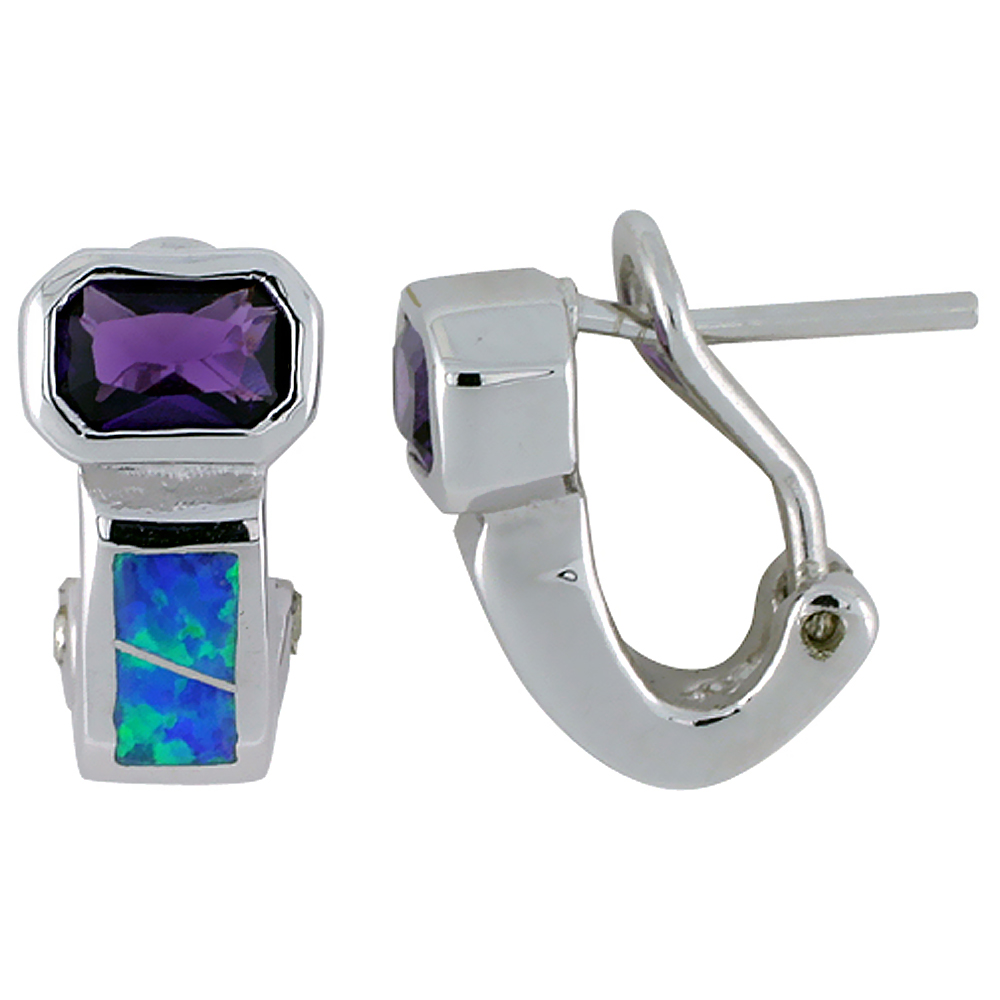 Sterling Silver Synthetic Blue Opal Earrings Omega Back Emerald cut Amethyst CZ Center 9/16 inch