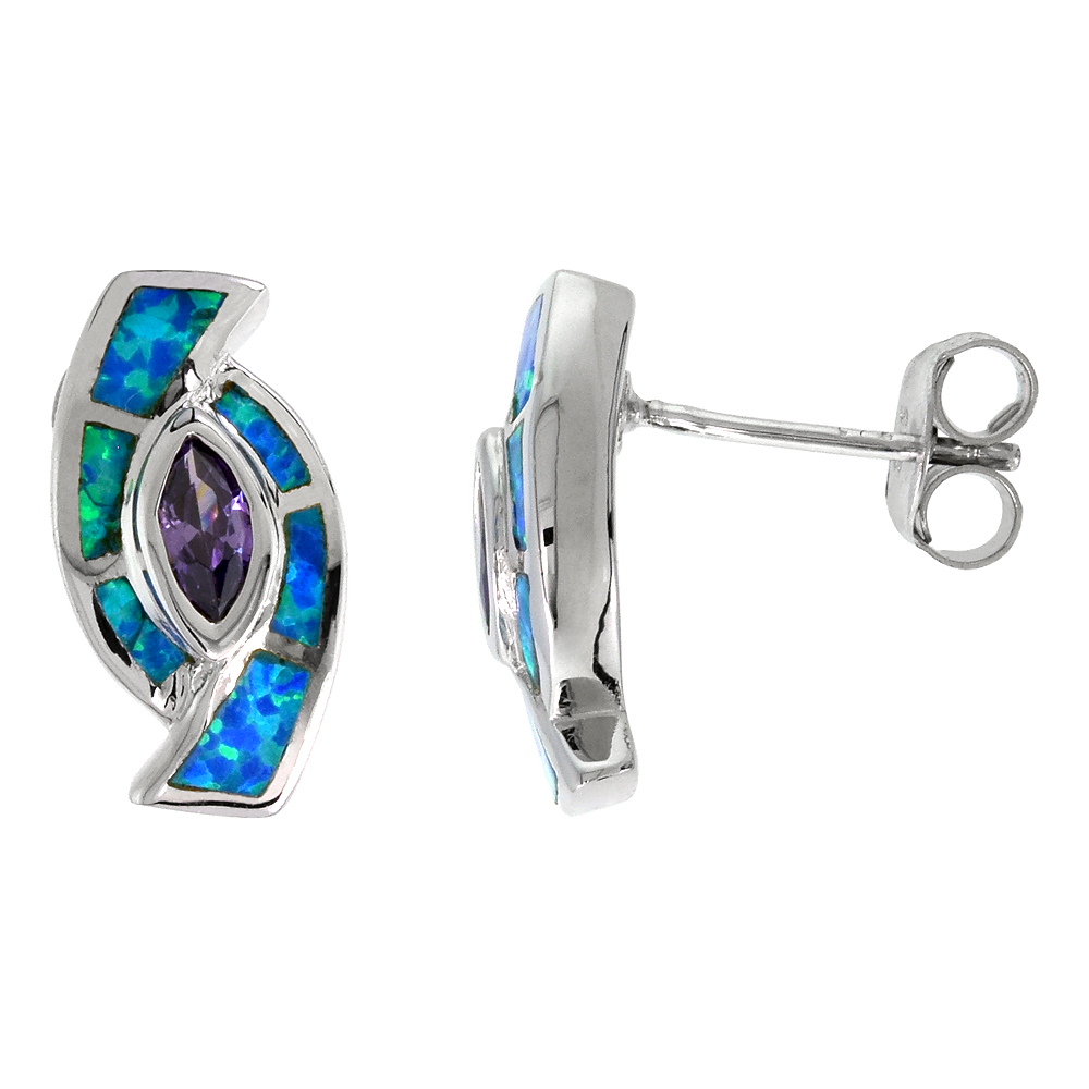 Sterling Silver Synthetic Blue Opal Earrings with Marquis Shape Amethyst CZ Center 9/16 inch