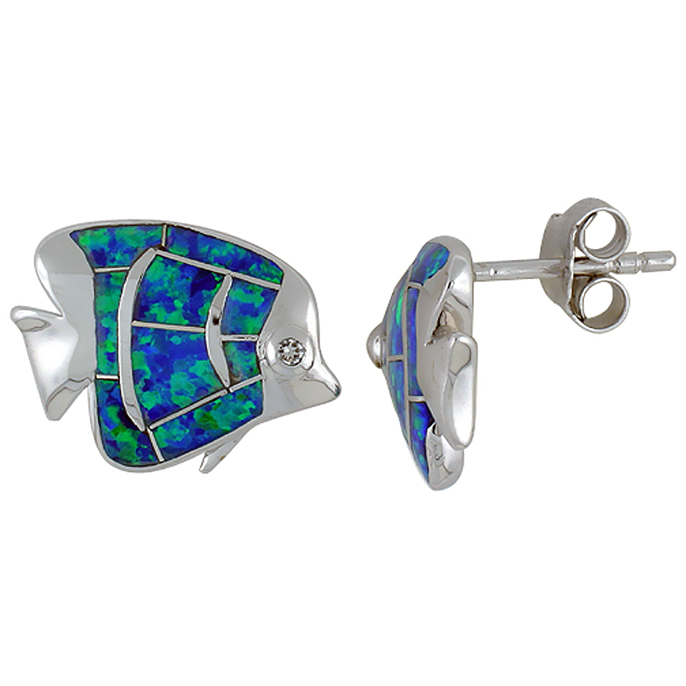 Sterling Silver Synthetic Blue Opal Fish Stud Earrings CZ Eyes, 5/8 inch