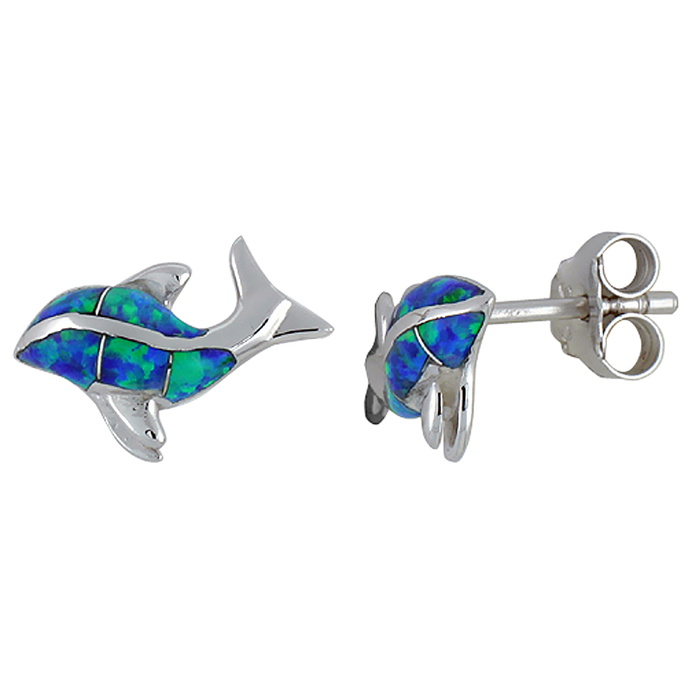 Sterling Silver Synthetic Blue Opal Killer Whale Stud Earrings, 9/16 inch.