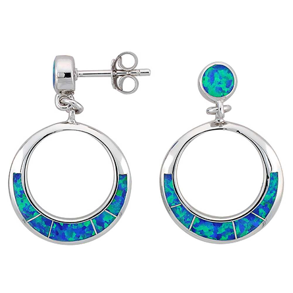 Sterling Silver Synthetic Blue Opal Circle Earrings, 3/4 inch diameter