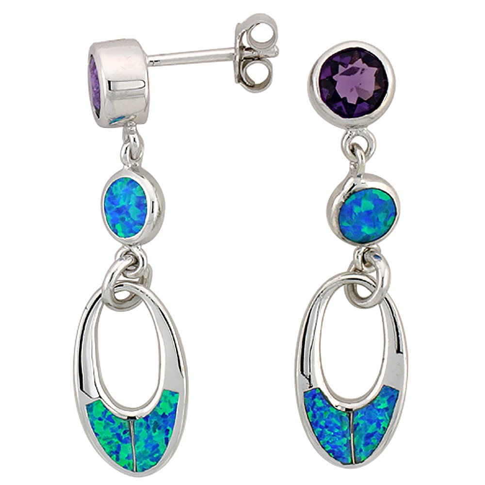 Sterling Silver Synthetic Blue Opal Oval Dangle Earrings with Round Amethyst CZ Center 1 1/12 inch