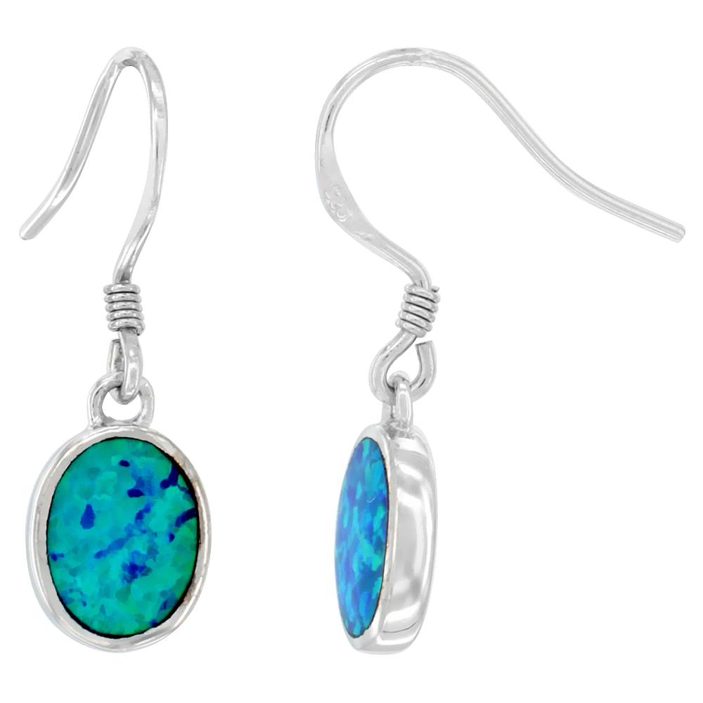 Sterling Silver Synthetic Opal Dangle Earrings Oval Drop, 1 inch Long