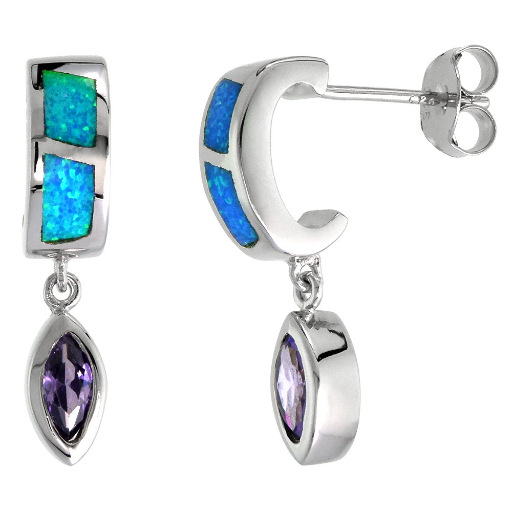 Sterling Silver Synthetic Blue Opal Stud Earrings with Marquis Shape Amethyst CZ Center 7/8 inch
