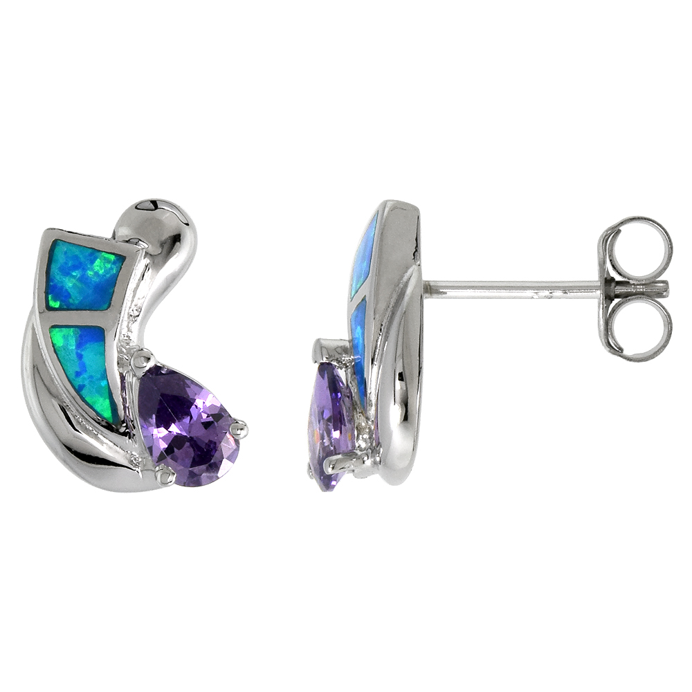 Sterling Silver Synthetic Blue Opal Stud Earrings with Teardrop Amethyst CZ Center 9/16 inch