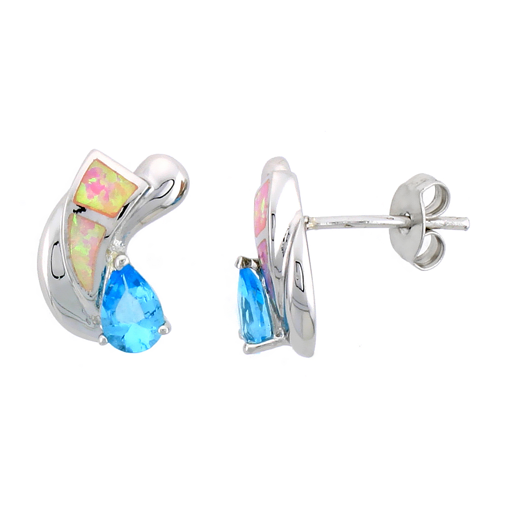 Sterling Silver Post Earrings Pink Synthetic Opal inlay with Teardrop Blue Topaz CZ, 9/16 inch