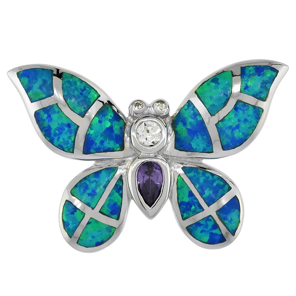 Sterling Silver Butterfly Pendant Synthetic Opal Inlay & CZ stones, 1 1/8 inch wide