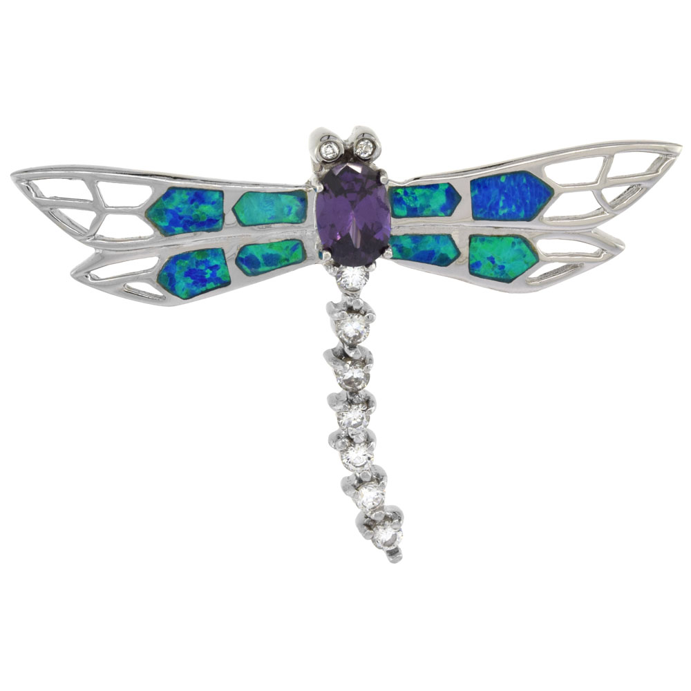 Sterling Silver Amethyst CZ Dragonfly Pendant Synthetic Opal Inlay Cubic Zirconia Accent, 1 13/16 inch