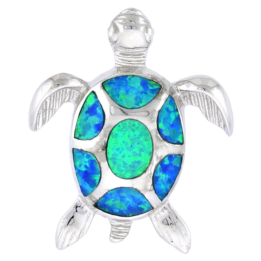 Sterling Silver Sea Turtle Pendant Synthetic Opal Inlay, 1 inch Tall