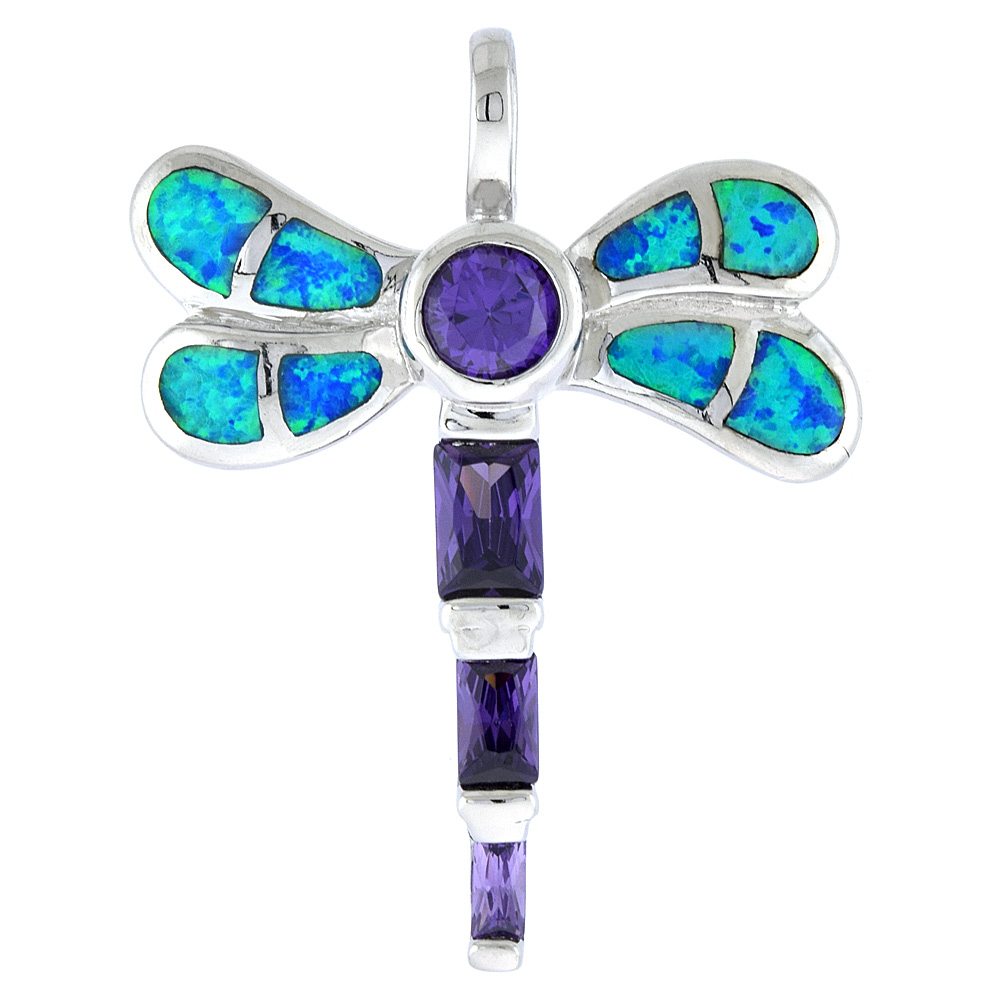 Sterling Silver Amethyst CZ Dragonfly Pendant Synthetic Opal Inlay Cubic Zirconia Accent, 1 3/8 inch