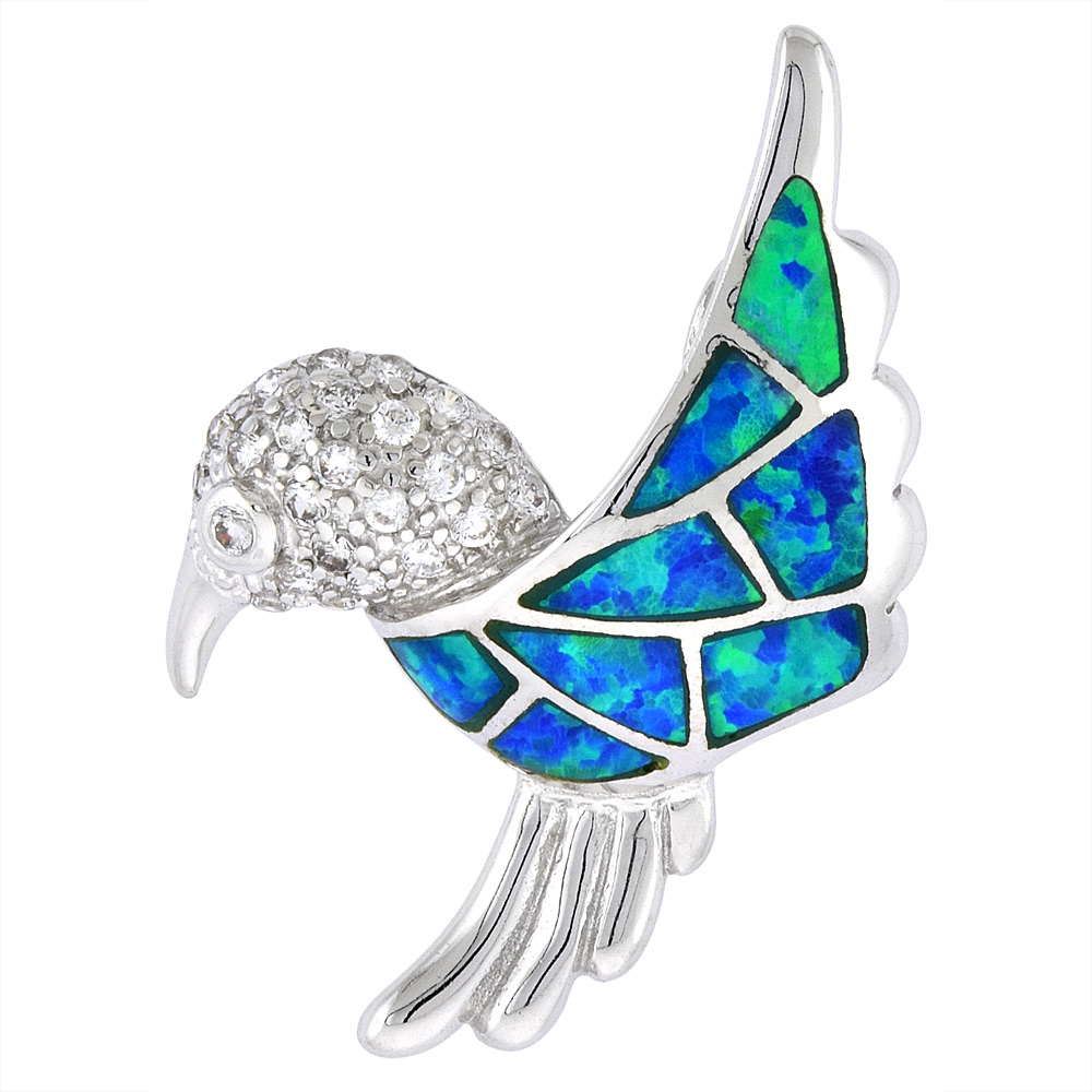 Sterling Silver Hummingbird Pendant Synthetic Opal Inlay & CZ stones, 1 1/4 inch Tall