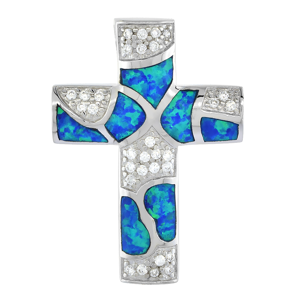 Sterling Silver Cross Pendant Synthetic Opal Inlay & CZ stones, 1 1/4 inch Tall