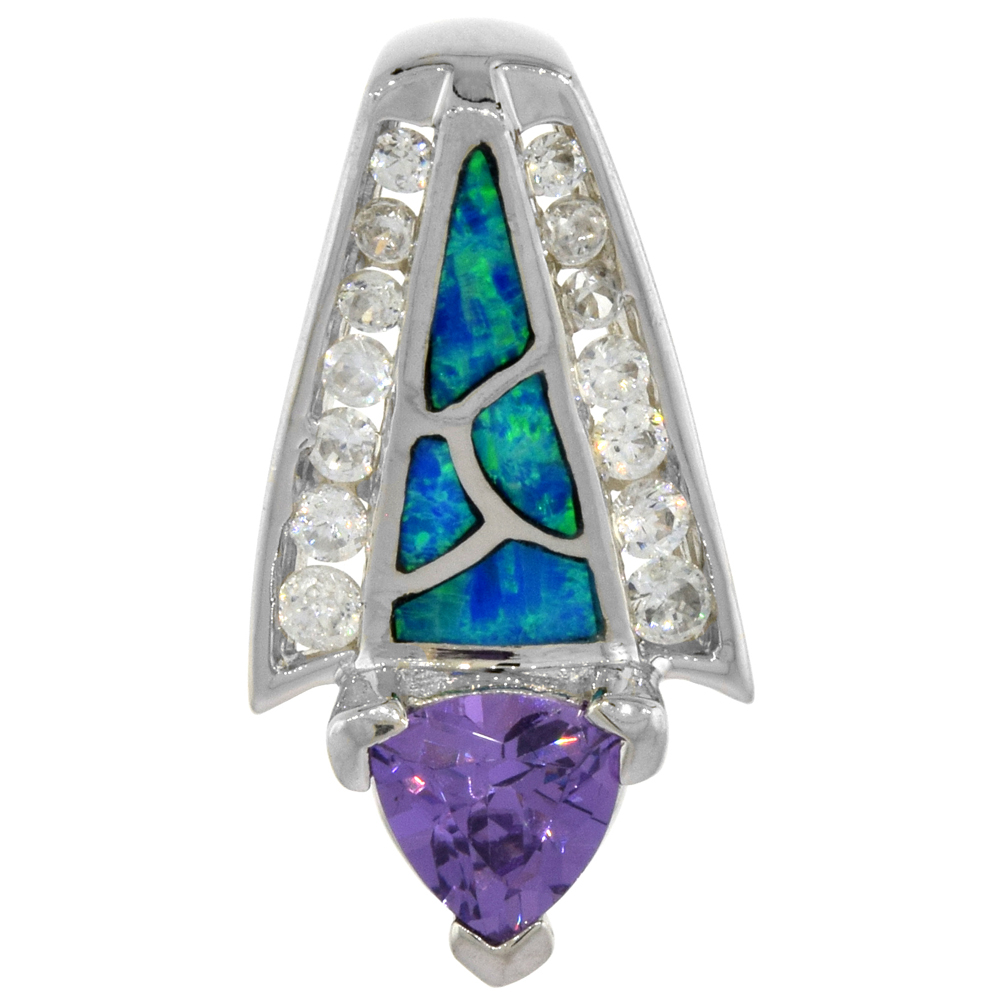Sterling Silver Amethyst CZ Pendant Synthetic Opal Inlay 8 mm Trillium Center 1 inch long,