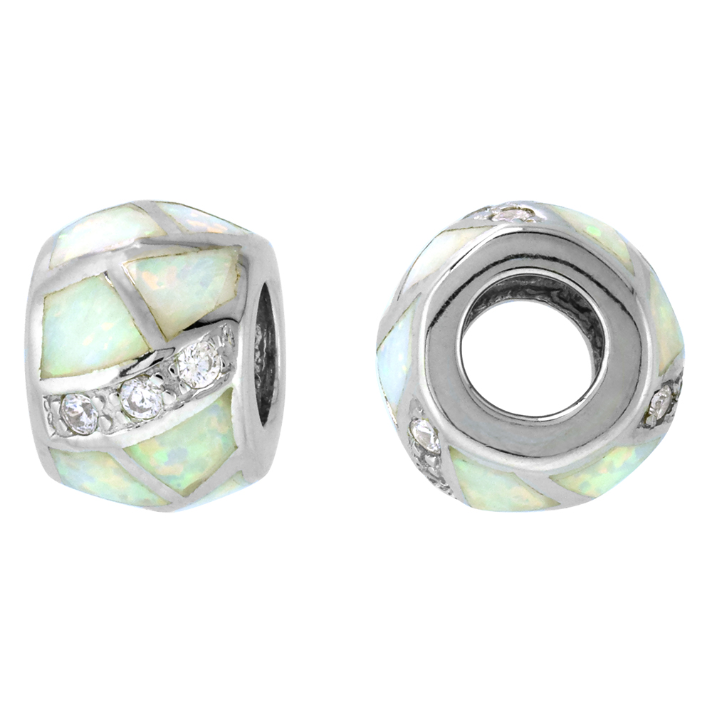 Sterling Silver Synthetic White Opal Bead Charm CZ stones Fits Pandora and all Charm Bracelets, 3/8 inch