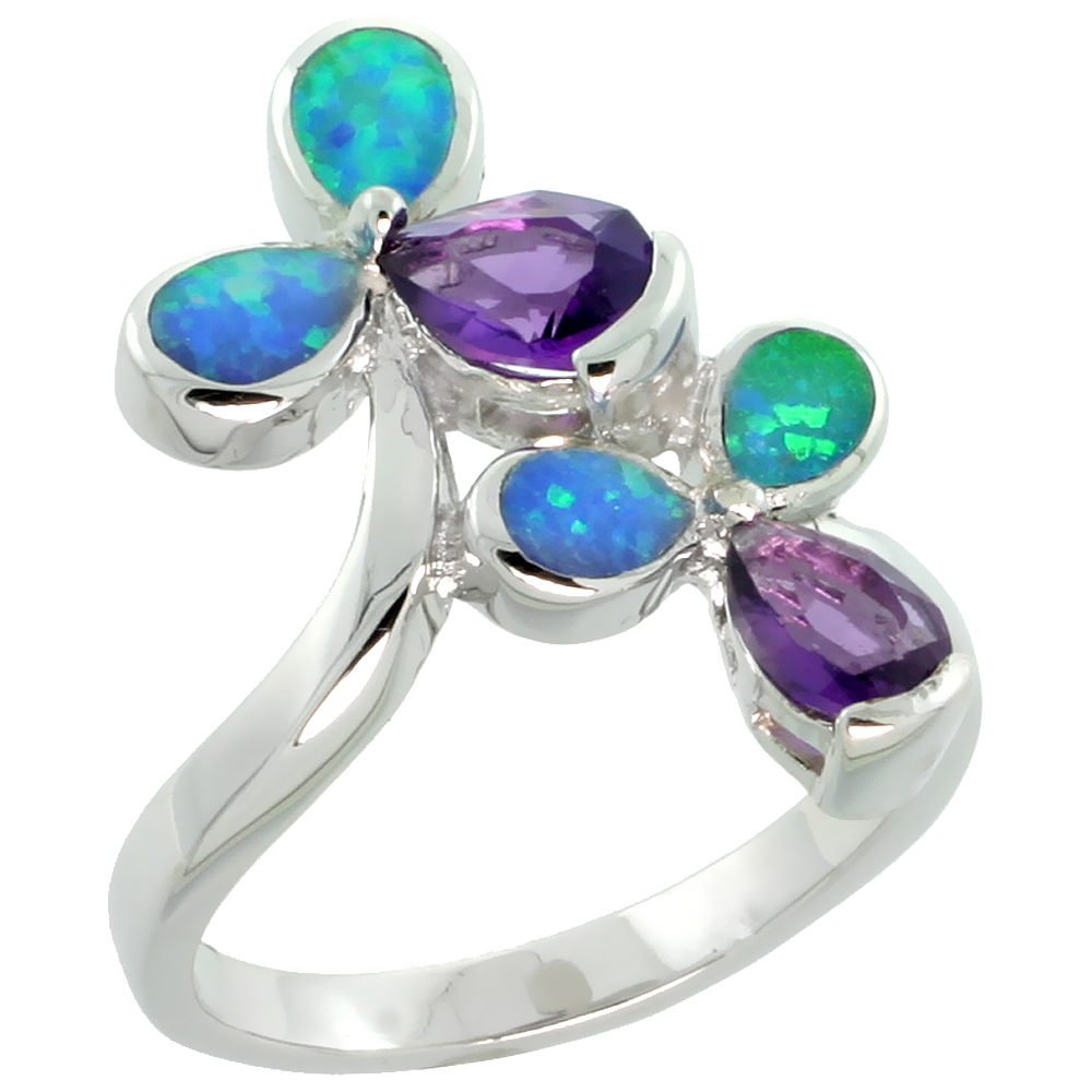 Sterling Silver Synthetic Blue Opal Floral Ring Teardrop Amethyst CZ Center, 11/16 inch