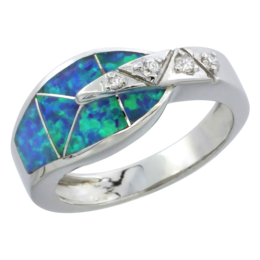 Sterling Silver Synthetic Blue Opal Ring w/ Small Cubic Zirconia Accents, 3/8 inch