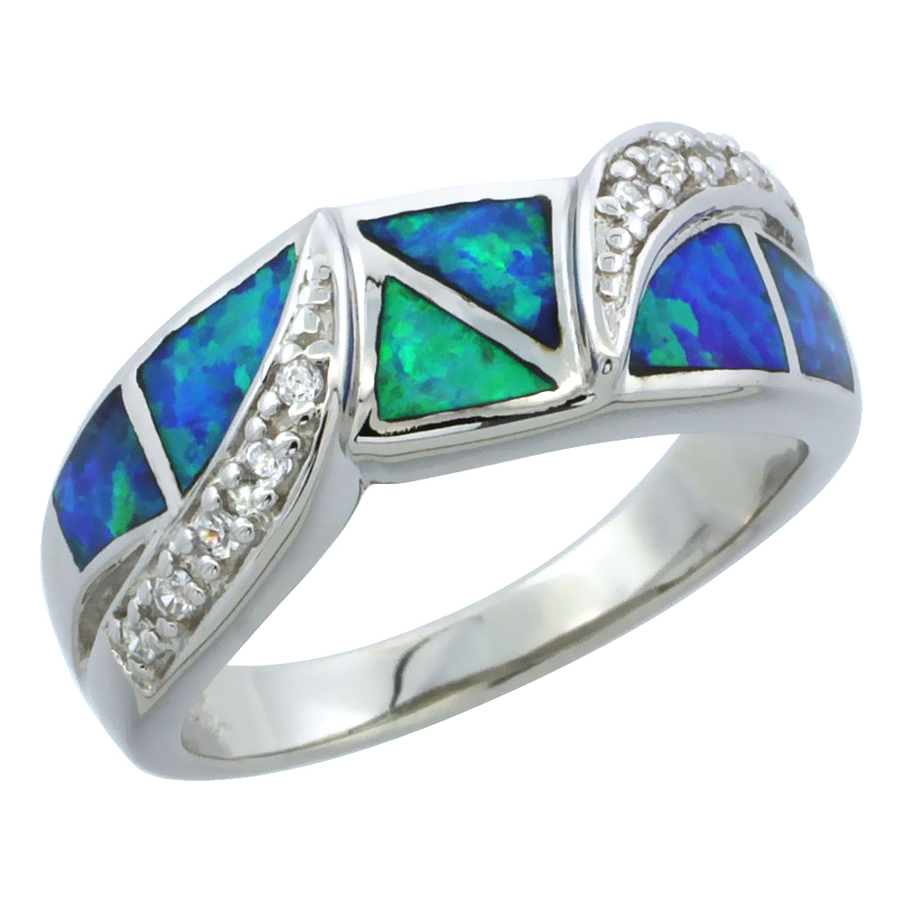 Sterling Silver Synthetic Blue Opal Ring Cubic Zirconia Accent, 5/16 inch