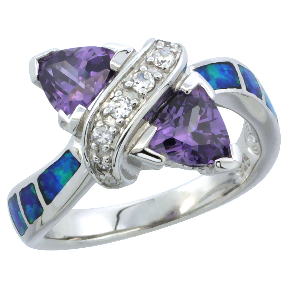 Sterling Silver Synthetic Blue Opal Ring w/ Double Heart Shape Amethyst CZ Center 7/16 inch