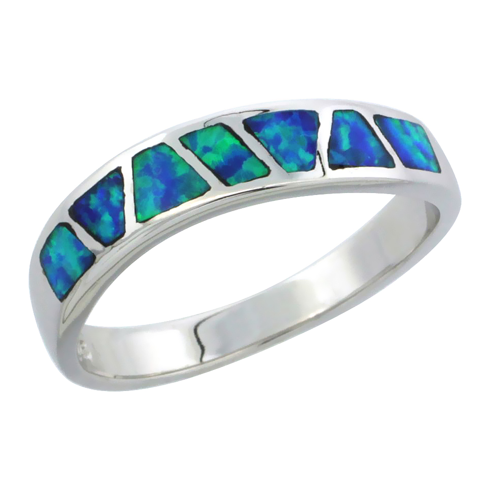 Sterling Silver Synthetic Blue Opal Ring, 3/16 inch