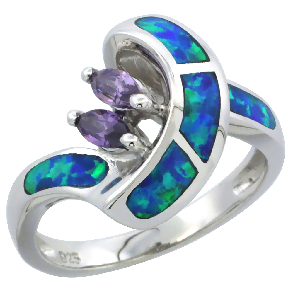 Sterling Silver Synthetic Blue Opal Ring Marquise Shape Amethyst CZ Center, 1/2 inch