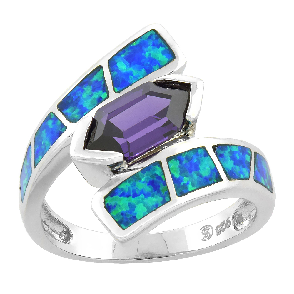 Sterling Silver Synthetic Blue Opal Ring Hexagon-shaped Amethyst CZ Center 3/4 inch
