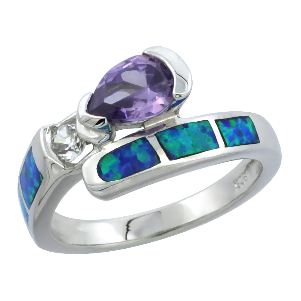 Sterling Silver Synthetic Blue Opal Ring Pear-shaped Amethyst CZ Cubic Zirconia Accent, 3/8 inch