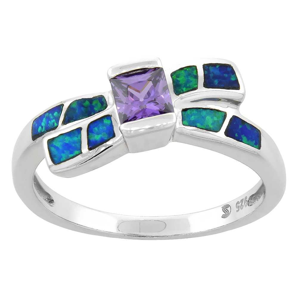 Sterling Silver Synthetic Blue Opal Bow Ring Princess Cut Amethyst CZ Center 7/16 inch