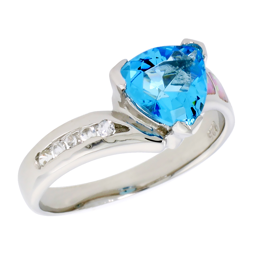 """Sabrina Silver Sterling Silver, Synthetic Pink Opal Ring, w/ Trillion Cut Blue Topaz CZ & Brilliant Cut CZ stone Accents, 3/8"""" (9 mm) wide at Sears.com"""