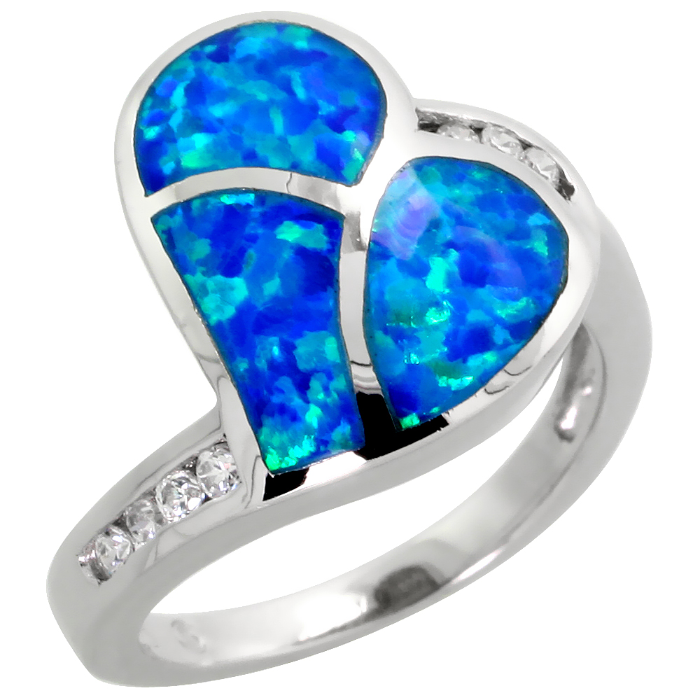 Sabrina Silver Sterling Silver Synthetic Opal Inlay Heart Ring CZ Stone Accent, 11/16 inch wide, size 6 at Sears.com