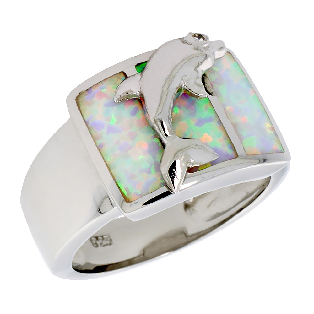 Sabrina Silver Sterling Silver Synthetic Opal Inlay Dolphin Ring, 1/2 inch wide at Sears.com