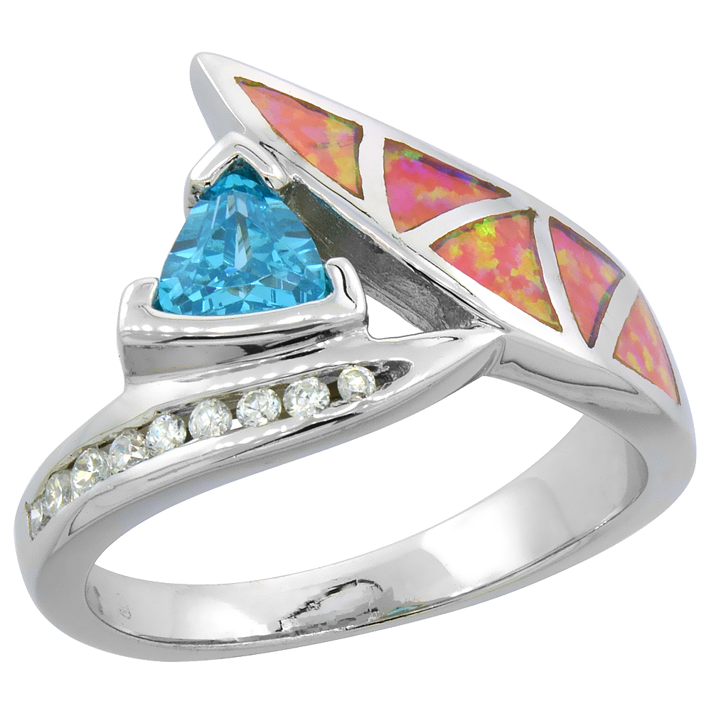 Sabrina Silver Sterling Silver Synthetic Pink Opal Ring Trillion Cut Blue Topaz CZ Center & White CZ Accent, 9/16 inch wide at Sears.com
