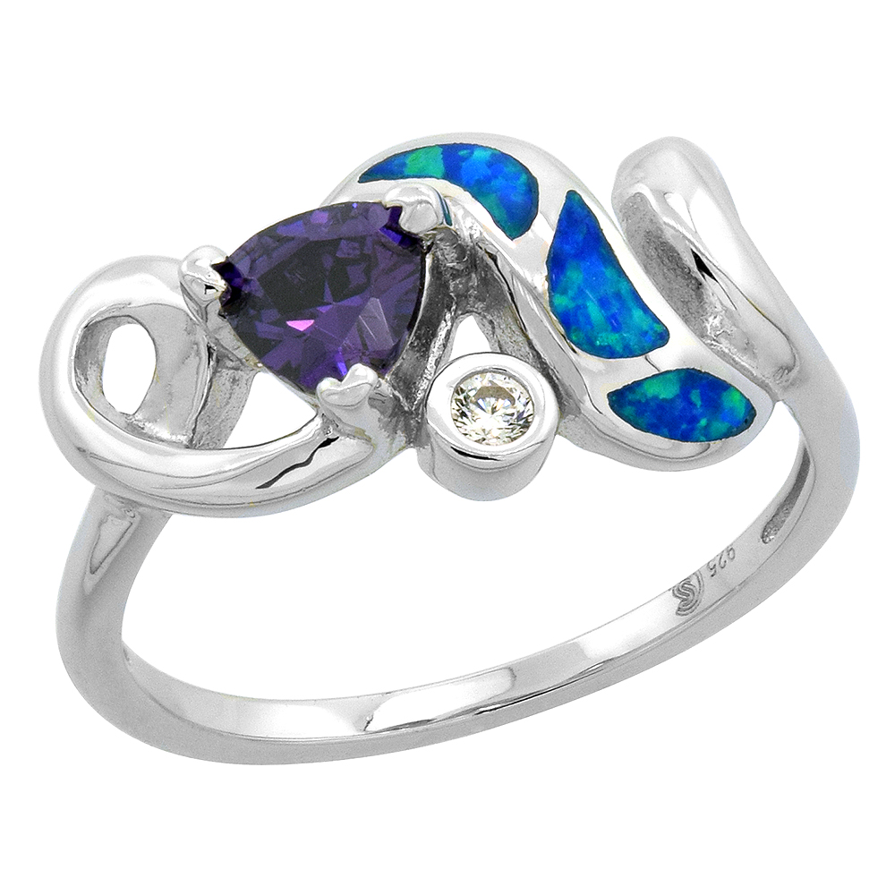 Sabrina Silver Sterling Silver Synthetic Opal Inlay Swirl Ring Trillion Cut Amethyst CZ Center & white CZ Accent, 7/16 inch wide at Sears.com