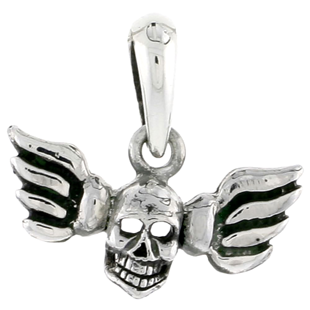 Sterling Silver Winged Skull Charm, 3/4 inch tall