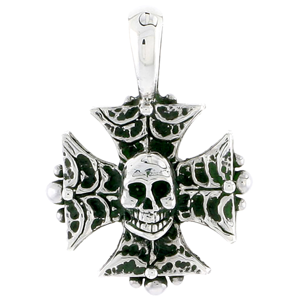 Sterling Silver Iron Cross w/ Skull Charm, 3/4 inch tall