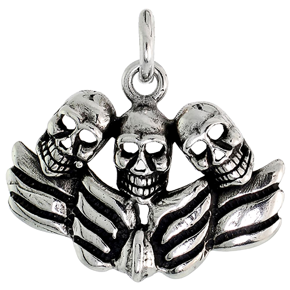 Sterling Silver Winged Skulls Charm, 3/4 inch tall