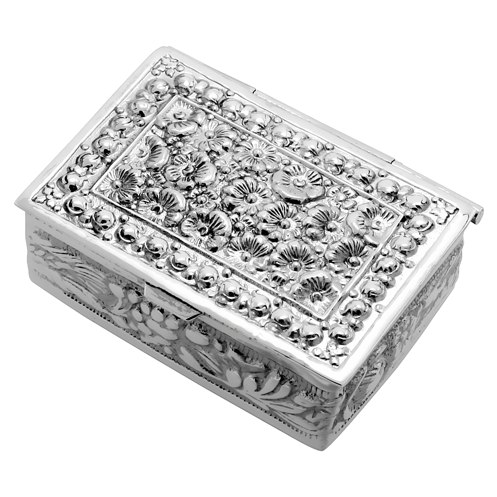 Sterling Silver Pill Box Floral Embossed Rectangular Shape 1 1/2 x 1 1/8 inch