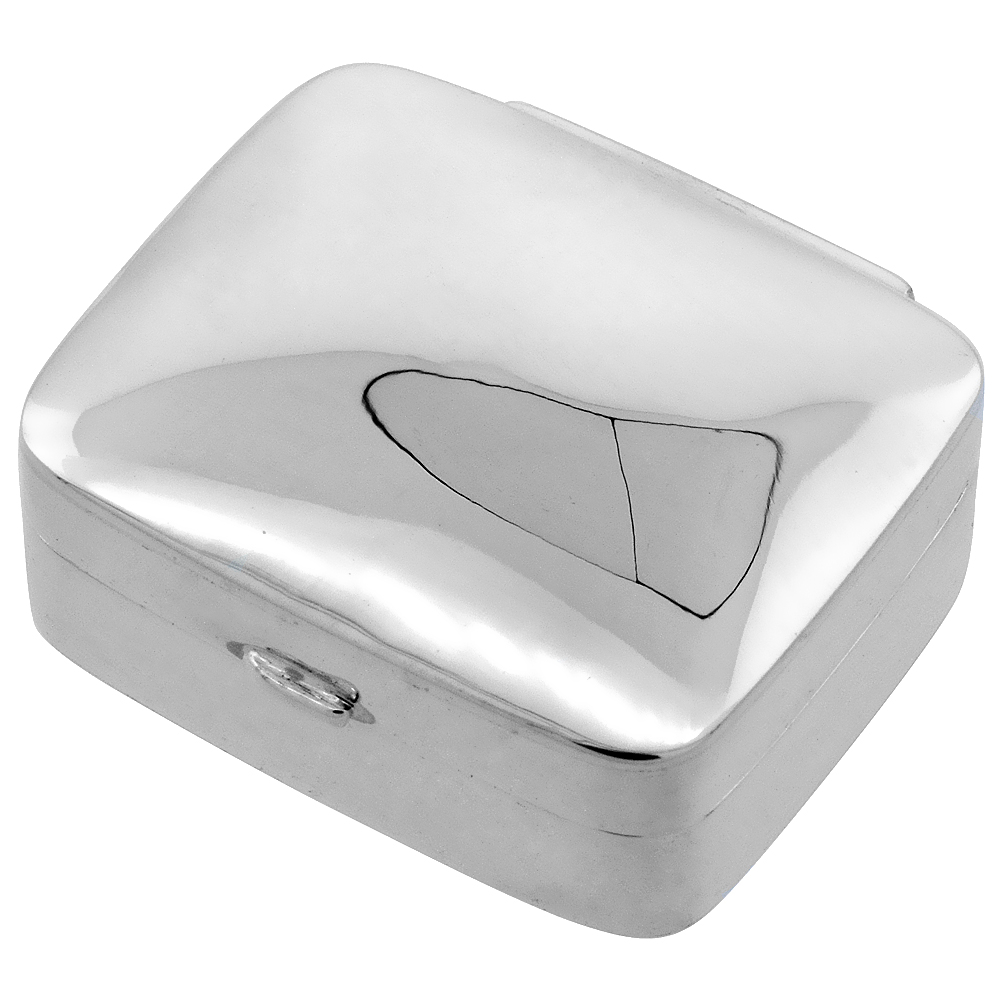 Sterling Silver Pill Box Rectangular Shape Plain High Polished, 1 1/8 x 15/16 inch