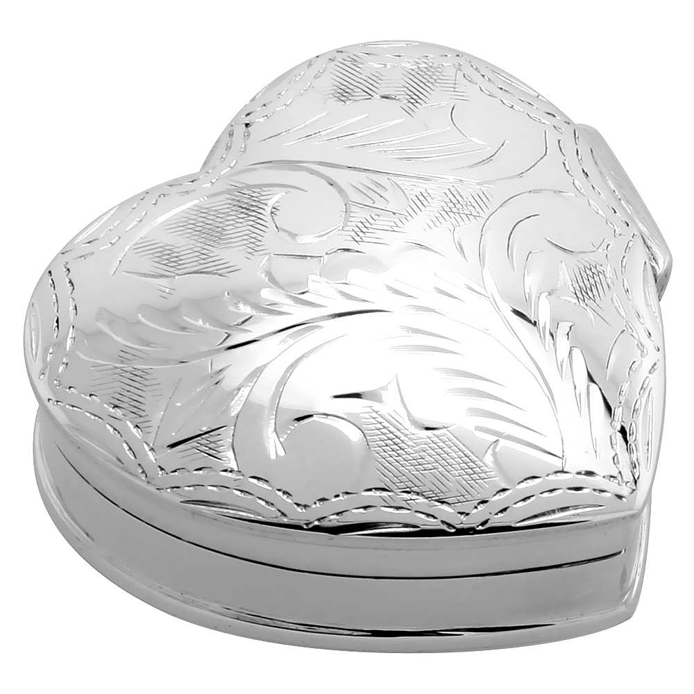 Sterling Silver Pill Box Heart Shape Engraved Finish, 1 1/4 x 1 1/4 inch