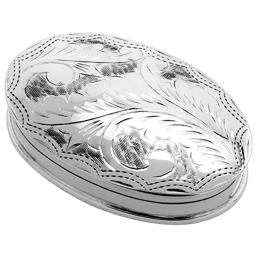 Sterling Silver Pill Box Oval Shape Engraved Finish, 1 7/8 x 1 1/4 inch