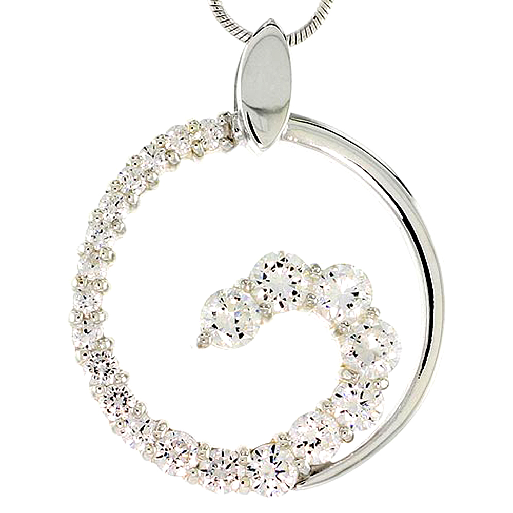 """Sterling Silver Graduated Journey Pendant w/ 21 High Quality CZ Stones, 1 (25 mm) tall"""""""