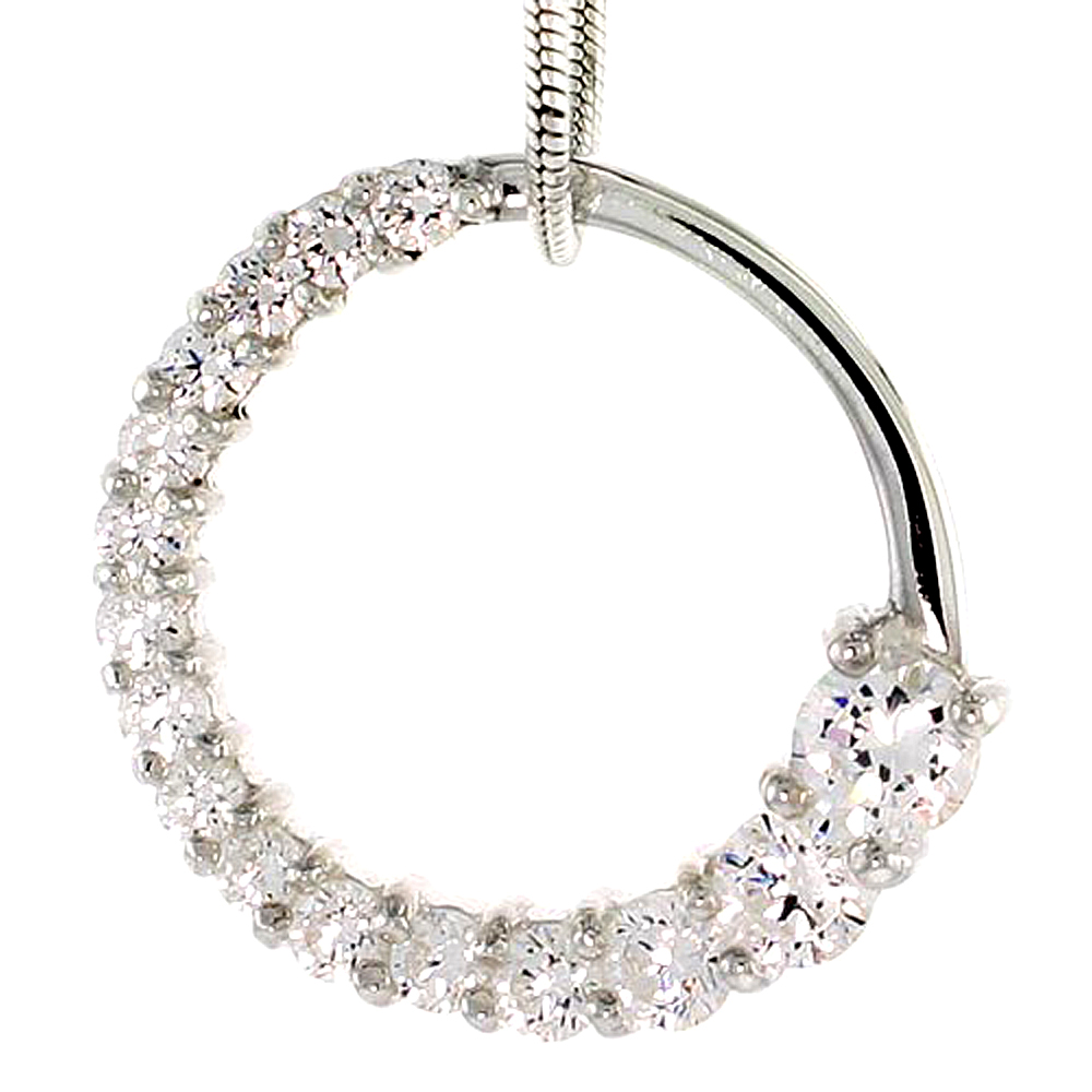 """Sterling Silver Graduated Journey Pendant w/ 16 High Quality CZ Stones, 3/4 (19 mm) tall"""""""