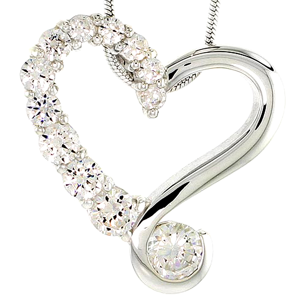"""Sterling Silver Graduated Journey Heart Pendant w/ 12 High Quality CZ Stones, 7/8 (22 mm) tall"""""""