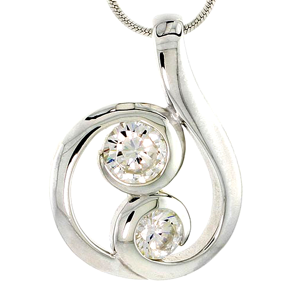 """Sterling Silver Spiral-inspired Pendant w/ 5mm & 6mm High Quality CZ Stones, 1 (25 mm) tall"""""""