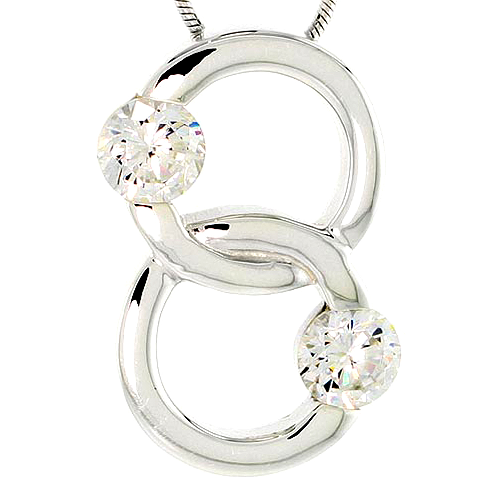 """Sterling Silver Overlapping Circles Pendant w/ 6mm High Quality CZ Stones, 1 (25 mm) tall"""""""
