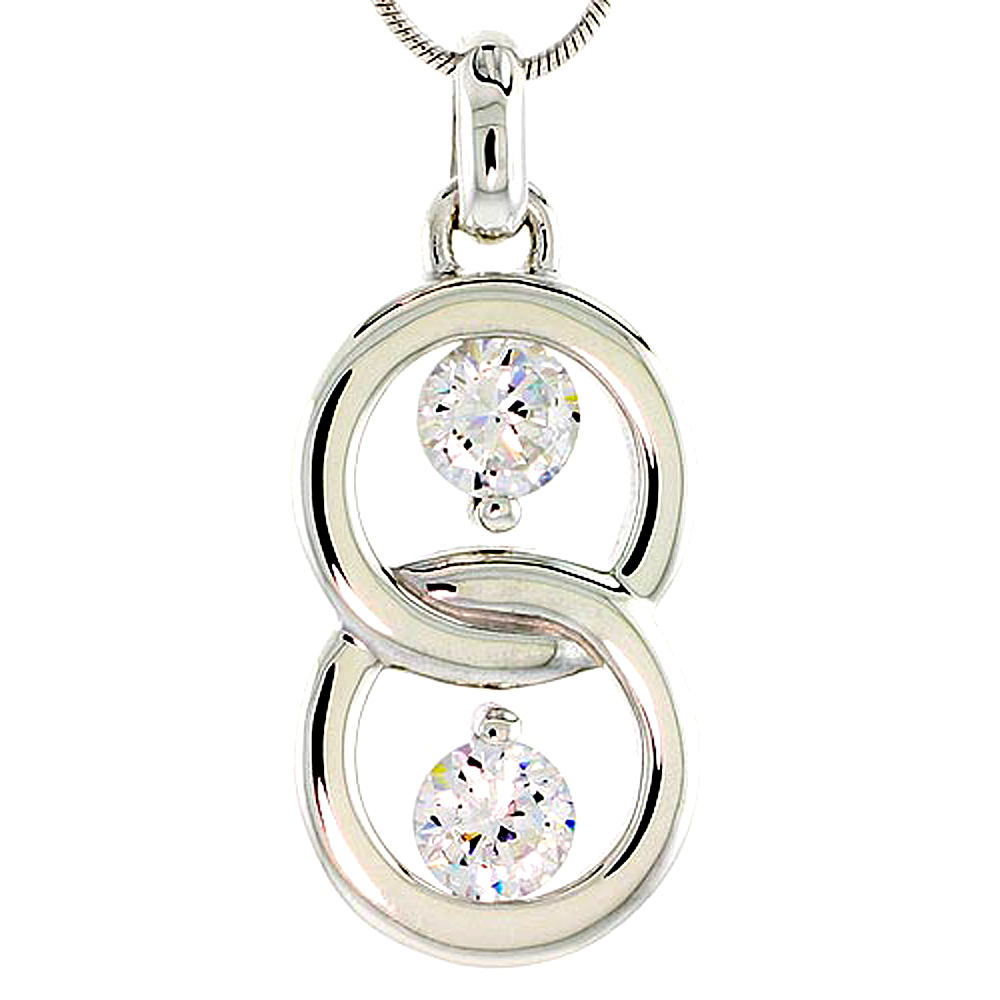 """Sterling Silver Overlapping Circles Pendant w/ 6mm High Quality CZ Stones, 1 1/8 (29 mm) tall"""""""