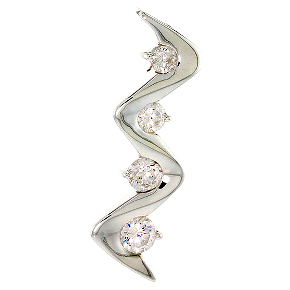 """Sterling Silver Graduated Journey Zigzag Pendant w/ 4 High Quality CZ Stones, 1 5/16 (34 mm) tall"""""""