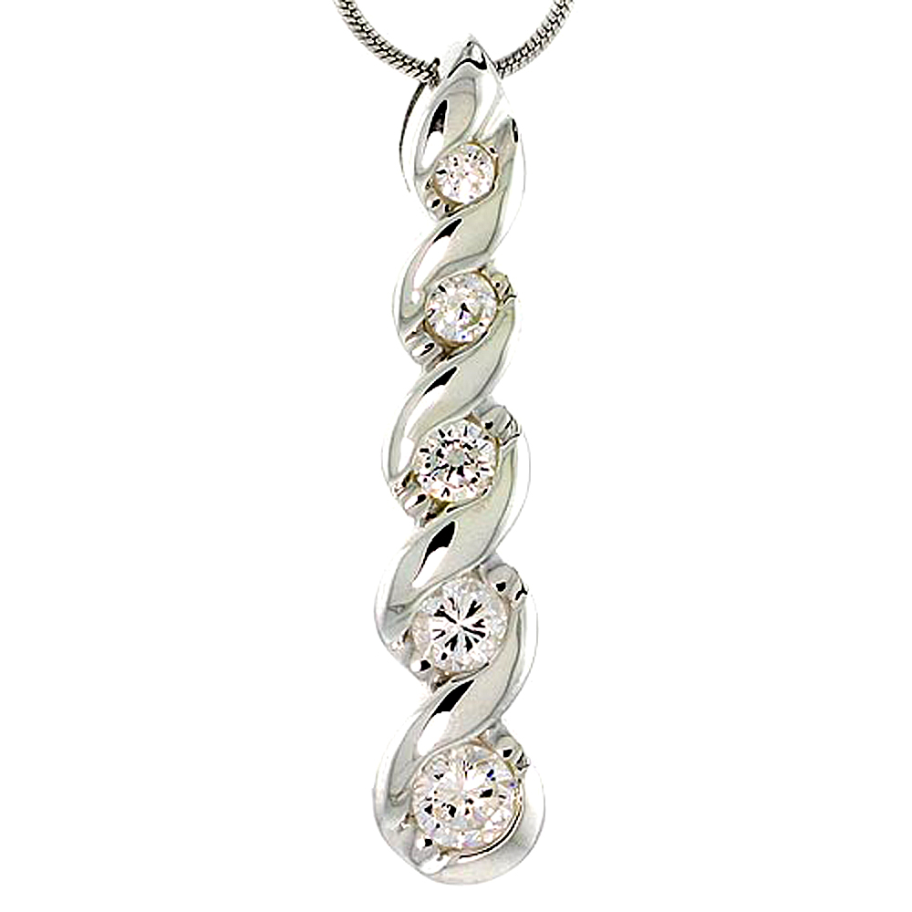 """Sterling Silver Graduated Journey Pendant w/ 5 CZ Stones, 1 7/8 (36mm) tall"""""""